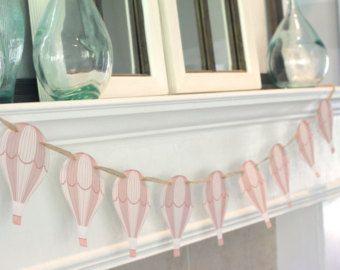 Artículos similares a Guirnalda/banner de globo de aire caliente. Decoración del partido/Baby shower cumpleaños. Elección de colores. en Etsy