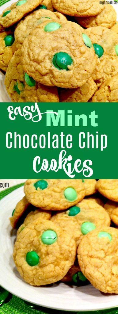 Mint Chocolate Chip Cookie Recipe a super easy St. Patrick's Day treat!   #stpatricksday #recipeidea #cookies