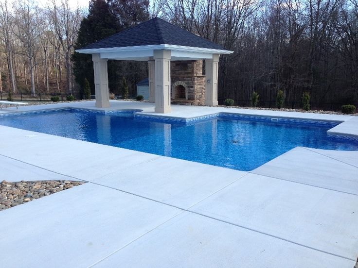 charlotte pool photos vinyl pool geometric pool with patio cover and outdoor fireplace http