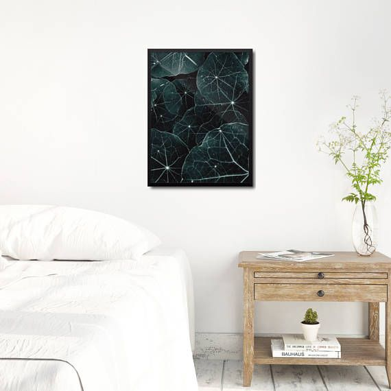 Modern Leaves Poster. Large green art print inspired by leaves and nature patterns. Double exposure photography of nasturtium leaves with significant leaf veins. Available sizes: 8 x 10 in, 12 x 16 in, 18 x 24 in. +++ #wallart #walldecor #scandi #leafposter #leafartprint #greenposter
