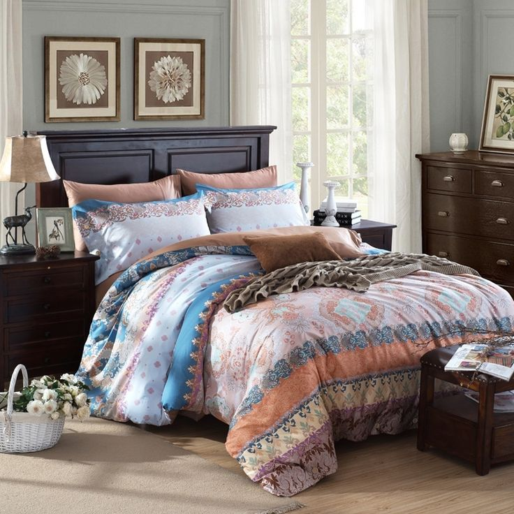 Brown blue and beige vintage western style gypsy themed for Western style beds
