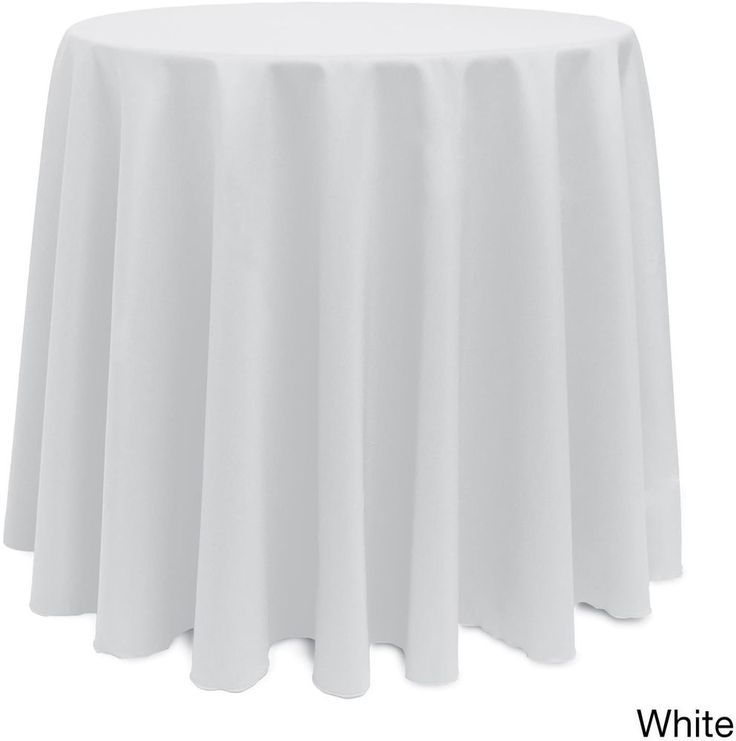 Christmas Solid Round Bright Color Durable White Tablecloth Decor 90 Inches