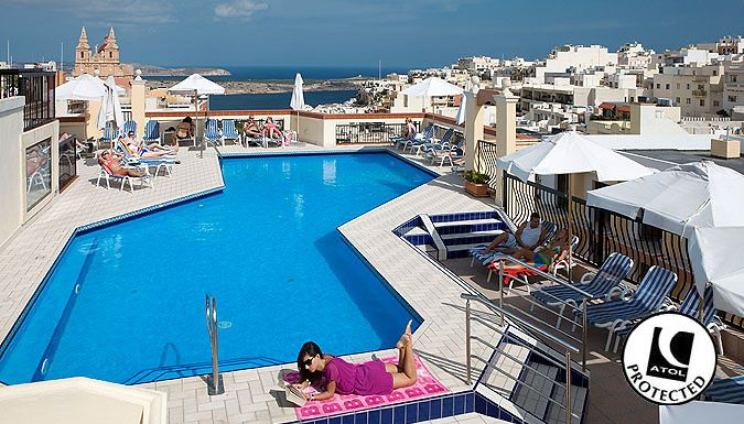 UK Holidays: Mellieha, Malta: 2-4 Night 4* Spa Hotel Stay With Flights & Optional Transfers - Up to 38% Off for just: £69.00 Float away to Malta and stay in 4* style with a 2-4 night spa break      Lap up the Mediterranean lifestyle with opulent spa facilities and relaxing pools      Stay at the 4* Solana Hotel and Spa or the 4* Pergola Hotel and Spa      Hotels have a mix of infinity pools,...