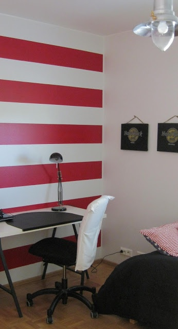 My son wanted a red wall. Here it is,  let's go paint the stripes.