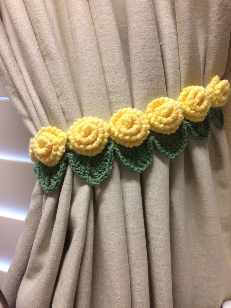 Crochet curtain Tieback- 1 pair yellow rose flower by JinesCrafts on Etsy