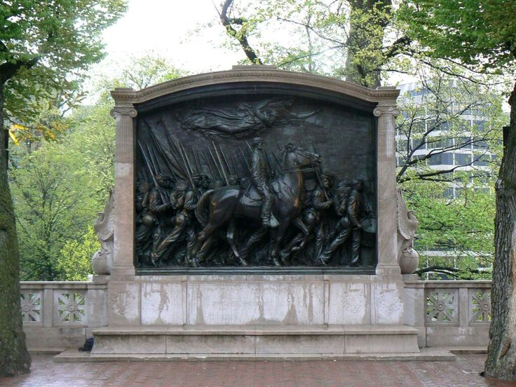 Memorial to Colonel Robert Gould Shaw and the 54th Massachusetts Volunteer Infantry Regiment first coloured regiment in service with United States Army in Boston Massachusetts.
