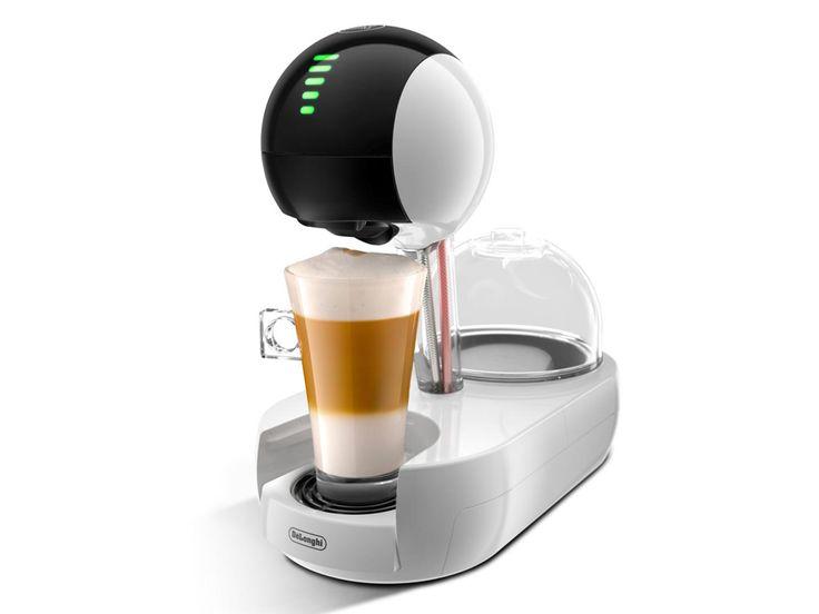 Cafetera Dolce Gusto DeLonghi Stelia EDG 635 W automática con un diseño blanco-transparente. Cabezal táctil para regular la dosificación. Recoge gotas regulable para que puedas utilizar distintas alturas de taza.