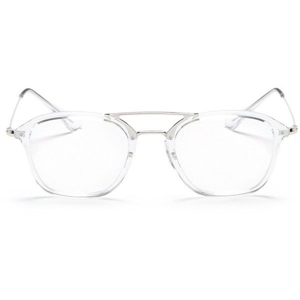 Ray-Ban 'RX7098' square optical glasses ($195) ❤ liked on Polyvore featuring men's fashion, men's accessories, men's eyewear, men's eyeglasses, white and ray ban mens eyeglasses