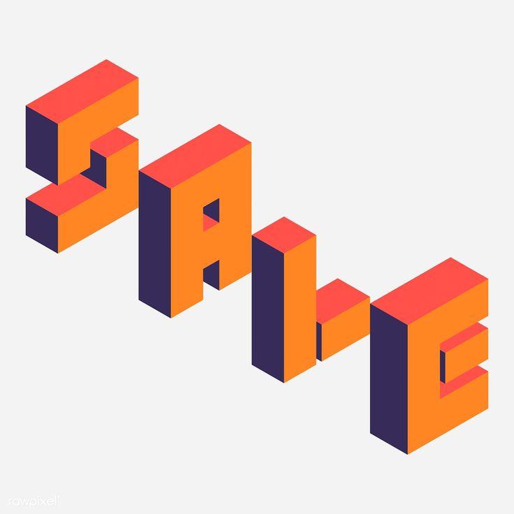Download premium vector of Orange isometric alphabet sale word vector