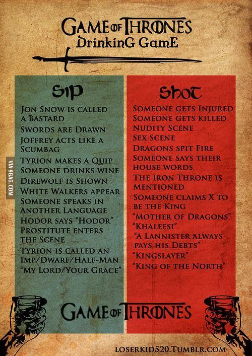 Game of Thrones Drinking Game... To be fair, Tyrion hasn't made a quip since he married Sansa, and the King in the North is dead along with two of the six dire wolves and we haven't seen ghost or nymeria in a while...