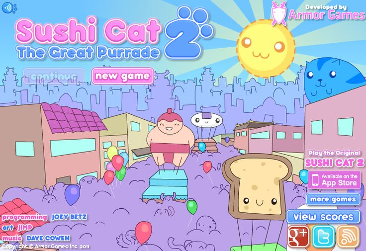If you love sushi and want to play some sushi games, give Sushi Cat and Sushi Cat 2 a try.  http://sushi-cat2.com/