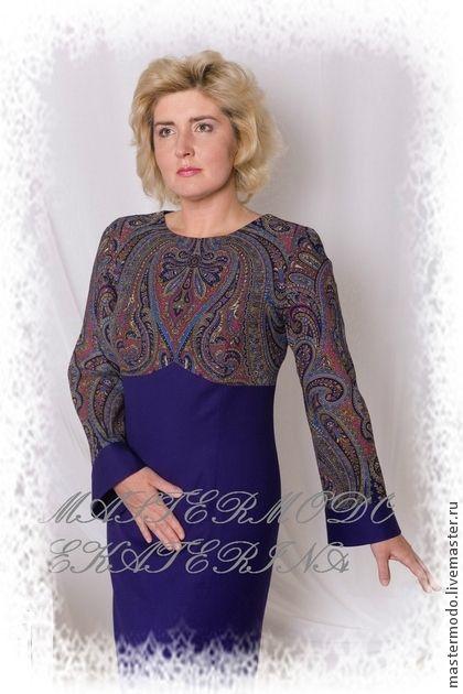"Платье из павловопосадского платка ""ЗИМА"" - платье из платков,павловопосадский платок"