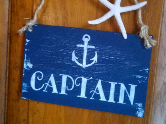Nautical Wedding Signs CAPTIAN & FIRST MATE Navy Blue with Anchor Wedding Chair Signs