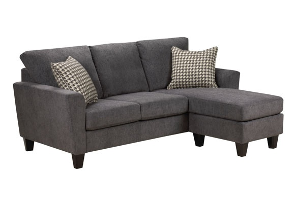 1142 Sofa with Chaise in Grey Plush Fabric at Brentwood Classics