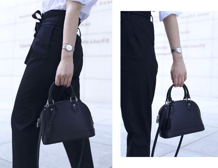 Styled For The Occasion - Sophie Spiegelberger - Monochromatic Simplicity - Louis Vuitton Alma BB epi black - Fendi Eyeline sunglasses - Stuart Weitzman sandals