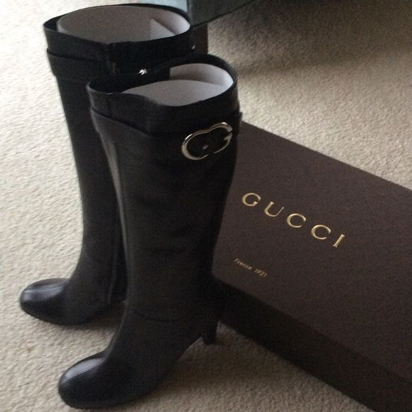 NWT Tall Super Soft Black Gucci Boots (genuine) ‼️REDUCED‼️This beautiful genuine Gucci boots are the definition of classy meets sassy! Super soft black leather, European size 40 fits 9 & 91/2. Great opportunity to own own great quality new boots for less than half of original price! Gucci Shoes Heels