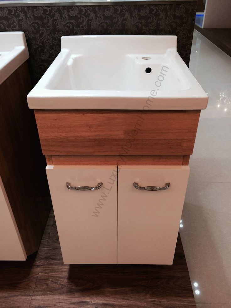 "sink ALEXANDER 18"" Utility Sink - Modern Mop Slop Tub Deep Sink Ceramic Laundry Room Vanity Cabinet Contemporary Hardwood Hard wood Oak - Toilet Bowls - Amazon.com"