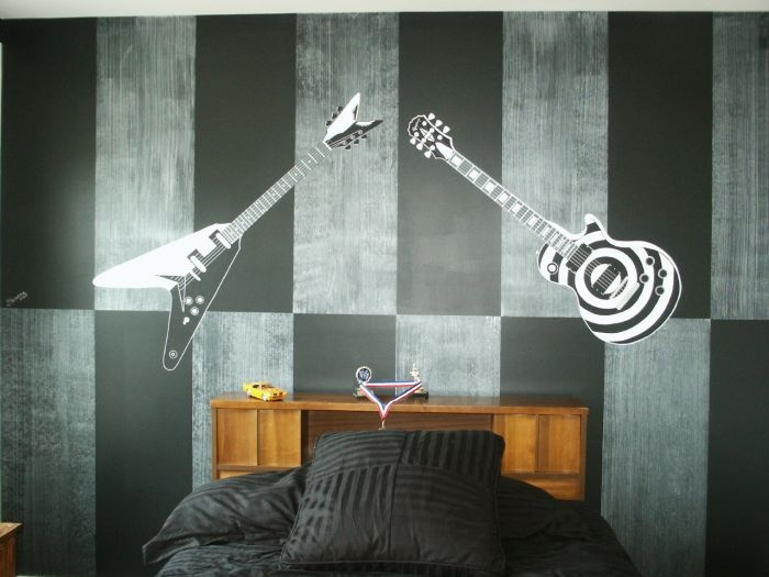 68 best images about teen bedroom and painting ideas on for Guitar bedroom designs