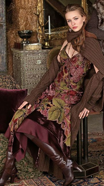 Autumn style from Ralph Lauren - thick argyle knitwear over a burgundy and olive velvet dress.