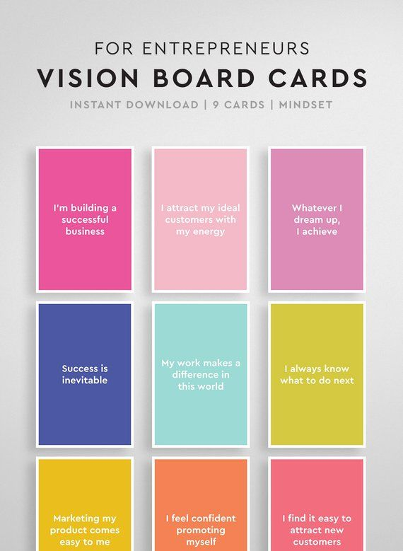 Affirmations for Entrepreneurs: Great for Vision Boards, Vision Board Printable, Vision Board Cards, Law of Attraction, Daily Affirmations