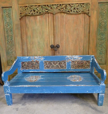 Balinese Furniture Recycled Timber Blue Day Bed Antique Carved Panel
