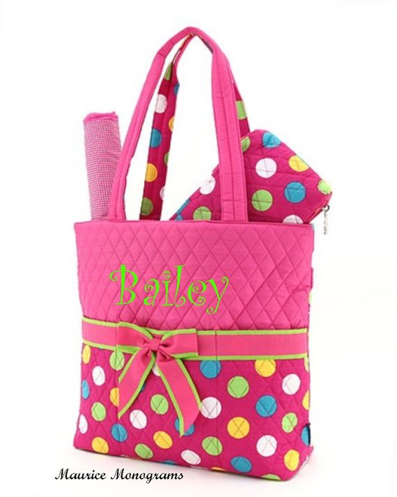Personalized Baby Girl Diaper Bag Set  3pc set by MauriceMonograms, $35.00