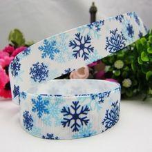 XW9211, 22mm Série do floco de neve de Natal Impresso fita de gorgorão, materiais artesanais DIY, acessórios de chapelaria(China (Mainland))