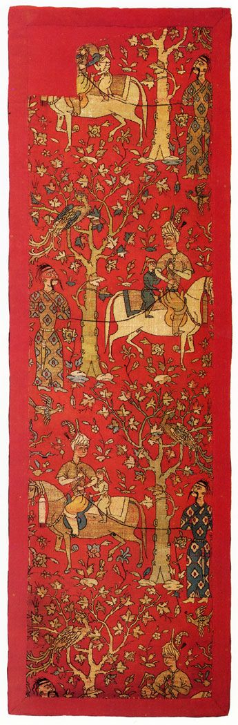 """ca. 1600. """"Polanaise"""" export carpet Safavid period Iran. Hand-woven cotton and silk with silver foil designed to European tastes using native motifs."""