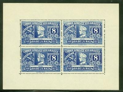 Nicaragua 1937 Issues: Scott #C218/C218a NGAI Columbus Day PERF MINISHEET