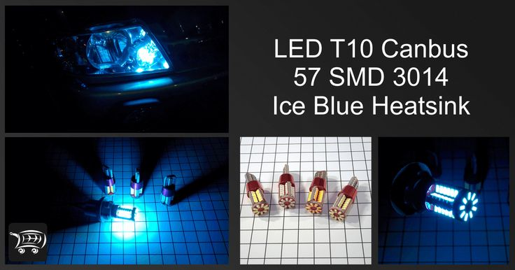 LED T10 Canbus 57 SMD 3014 Ice Blue Heatsink, lampu LED dengan warna cahaya ice blue (biru mudah) ini cocok digunakan untuk alternatif variasi lampu senja.