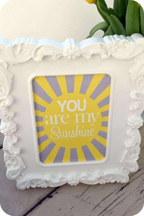"Free ""you are my sunshine"" printable from Dimple Prints"