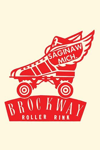 Stickers were issued by roller rinks across the United States. Many were stock designs imprinted with the local skating facility. This was for the Brockway Roller Rink in Saginaw, Michigan.