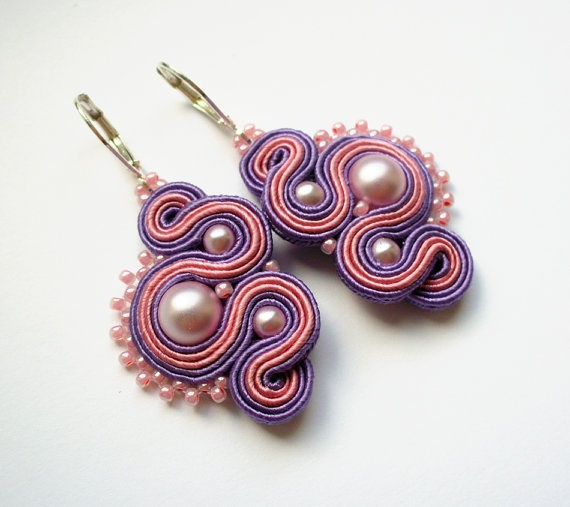 LILAC   soutache earrings handmade embroidered in by SaboDesign.    http://www.etsy.com/listing/100559619/lilac-soutache-earrings-handmade?utm_campaign=Share_medium=PageTools_source=Pinterest