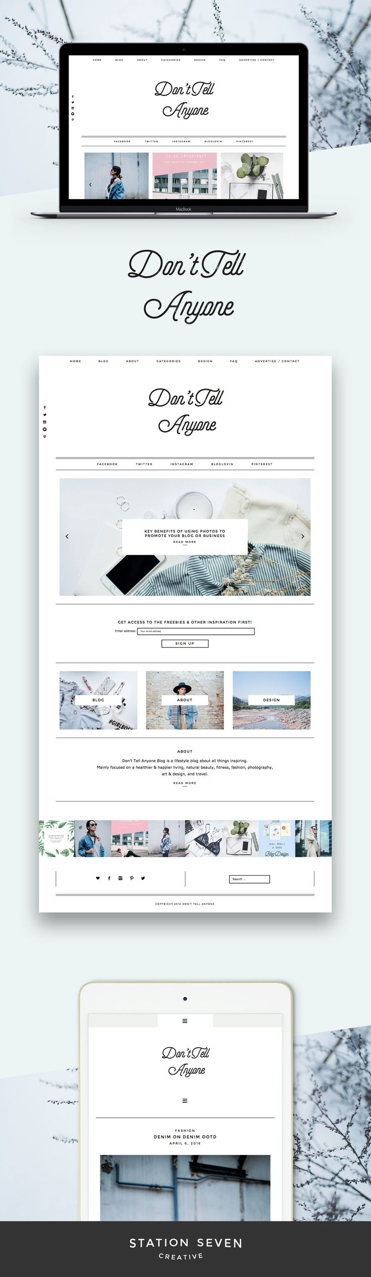 Modern yet minimal blog by Don't Tell Anyone on Station Seven's Parker WordPress theme.