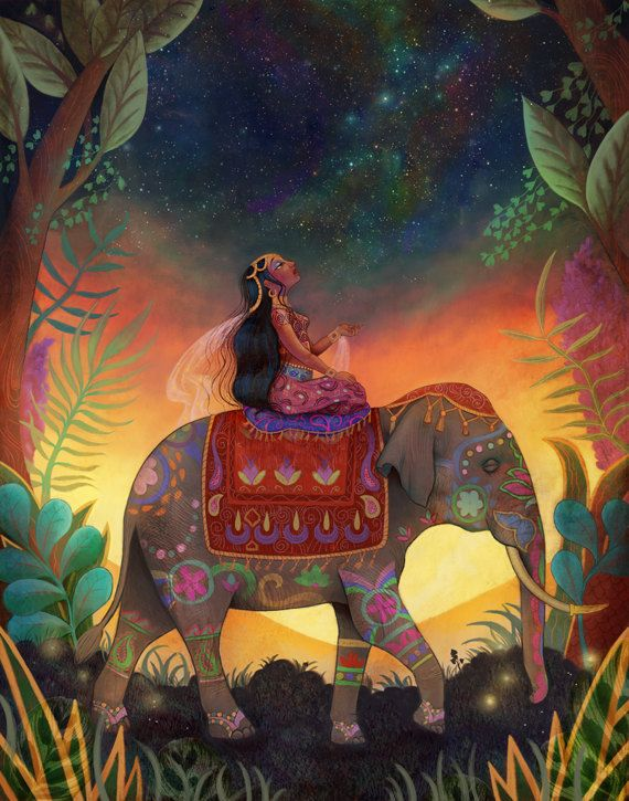 The Awestruck Princess - Mindfulness art, meditation, infian princess on an indian elephant - by Meluseena