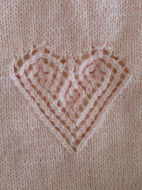 Hand Knitted Hearts of Lace Blankie in Pink for by CatDKnits