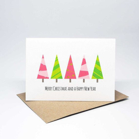 Christmas Card - 5 Pink and Green Christmas Trees - XMS035 / Merry Christmas / Happy New Year