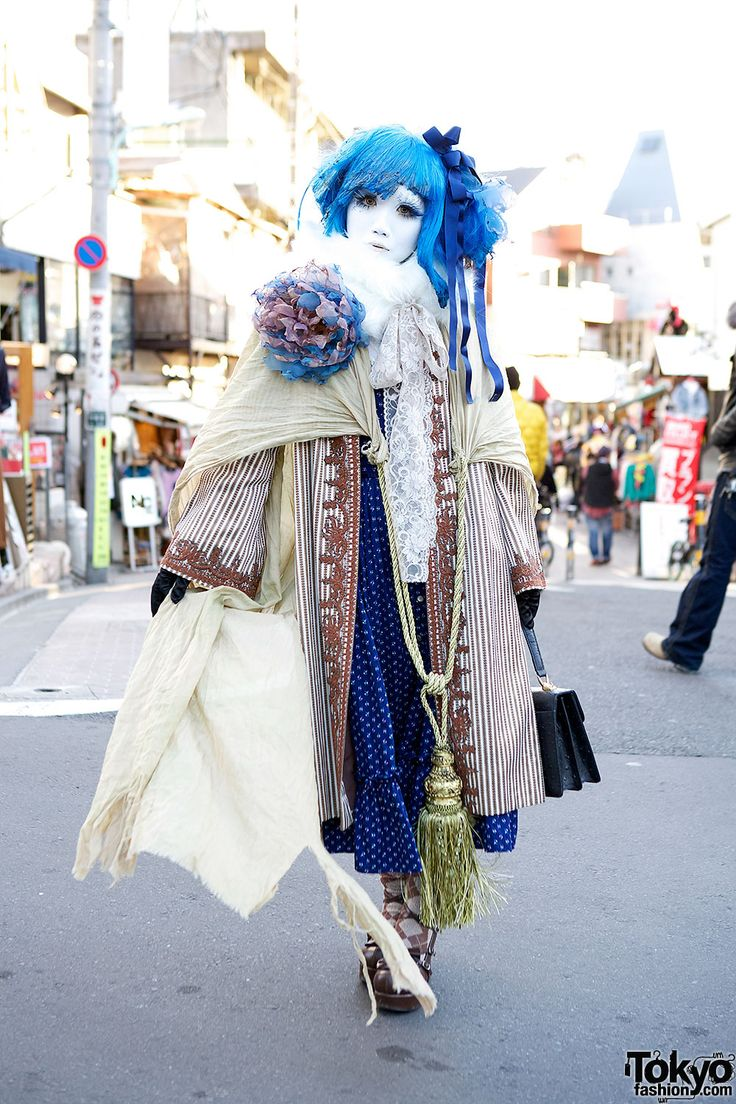Shironuri Minori w/ Blue Hair, Lace, Stripes, & Oversized Tassel in Harajuku