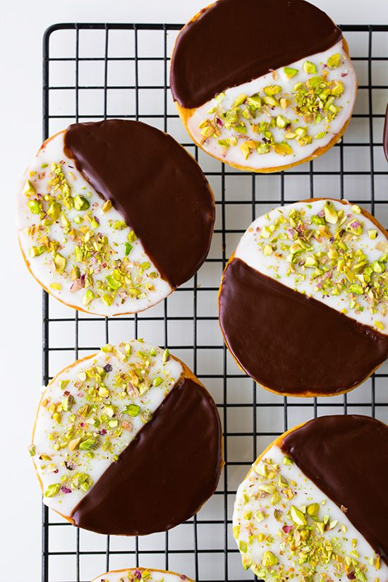 Pistachio Black and White Cookies FoodBlogs.com