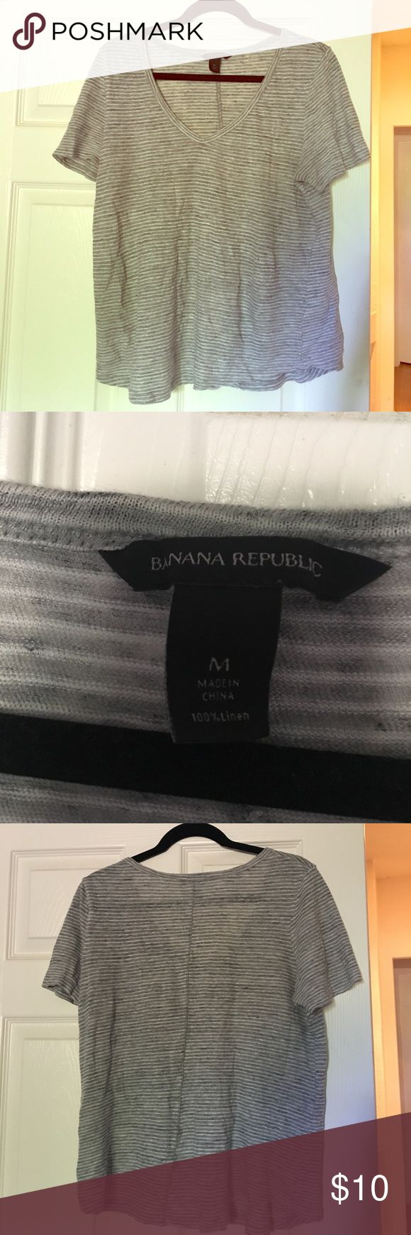 Banana Republic gray striped linen vneck tshirt Banana Republic gray striped linen tshirt. EUC, no stains or imperfections. Great, light tshirt for the warm summer months! Banana Republic Tops Tees - Short Sleeve