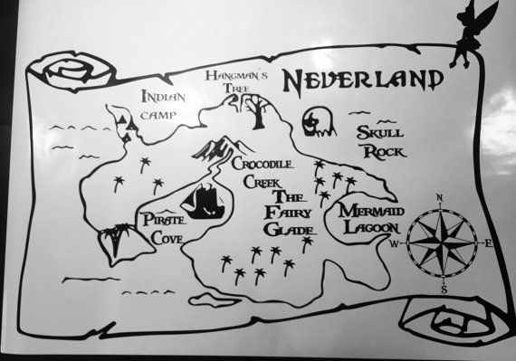"""40"""" x 30"""" $45 Neverland Map Wall and Car Decals.  Multiple by onceUPONyourTshirt"""