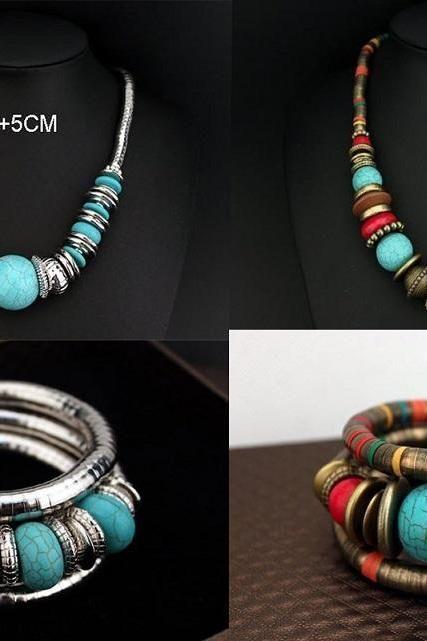Dámské Turquoise šperky Nastaví barevné Vintage náhrdelník a náramek šperky set