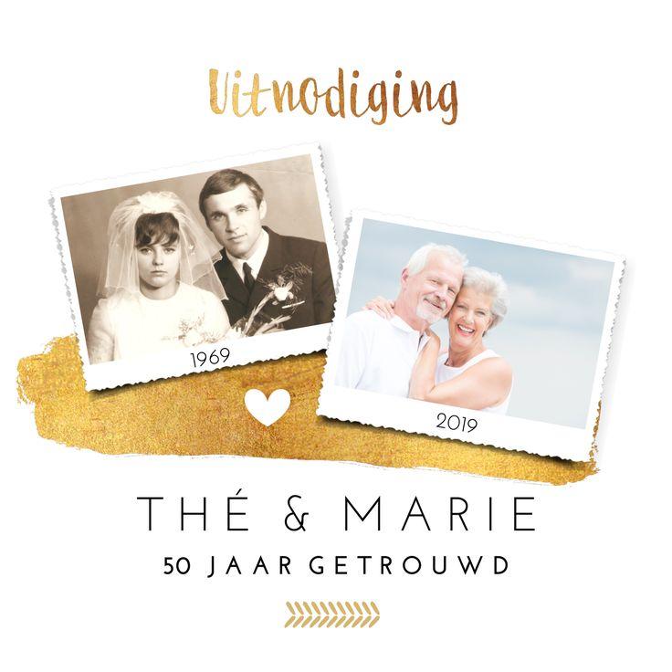 Uitnodiging voor gouden jubileum met foto van trouwdag en een recente foto met gouden details.