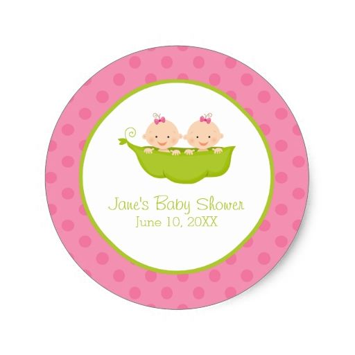 Twin girls baby shower two peas in a pod classic round sticker