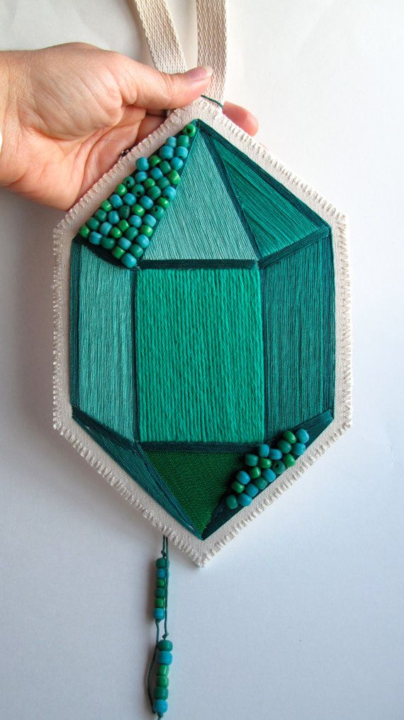 Textile wall hanging hand embroidered faux gem by AnAstridEndeavor