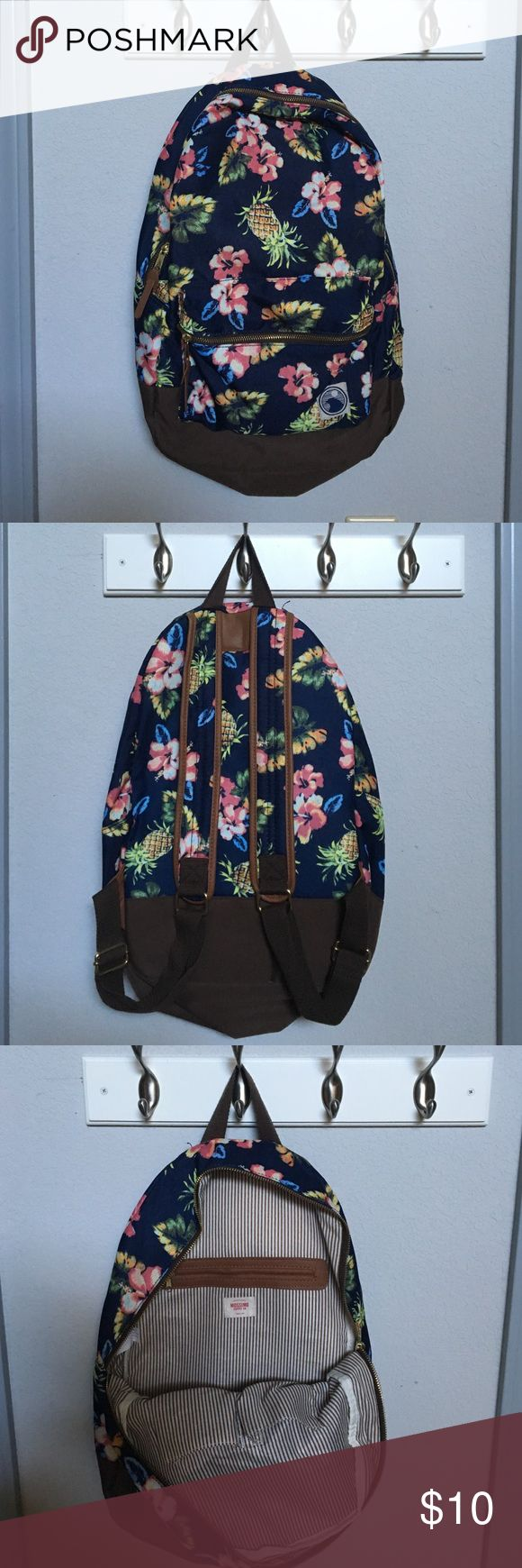 Mossimo Supply Co Tropical Print Backpack Mossimo backpack, used once, in perfect condition. Front and inside zipper pockets. Mossimo Supply Co Bags Backpacks