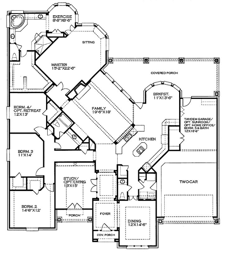 Ranch-style home floor plan