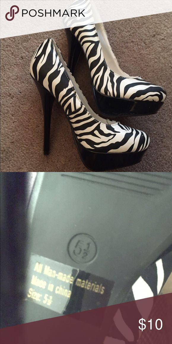 Never Worn Size 5 1/2 Zebra Heels Never Worn Size 5 1/2 Zebra Heels-Brand New Shoes Heels