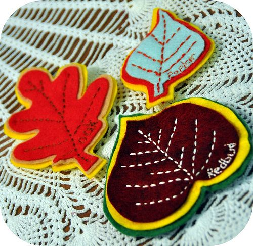 Each leaf has the name of the tree of origin hand stitched onto it!