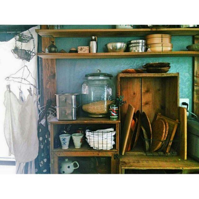 miyo1683さんの、キッチン,DIY,古道具,見せる収納,器,のお部屋写真